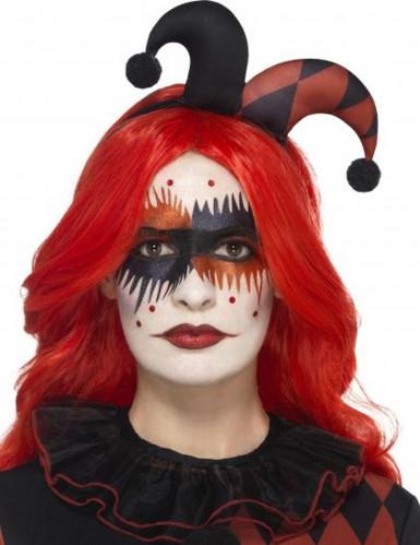 Harlekin-Schminkset mit Tattoo Halloween-Make-up schwarz-rot