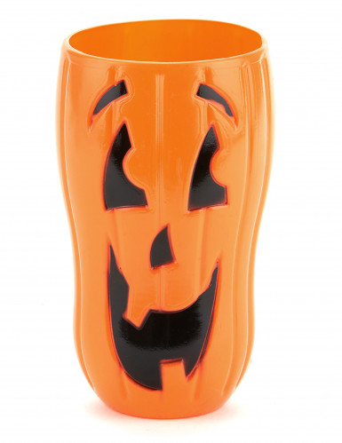 Kürbis-Becher Halloween-Trinkbecher orange-schwarz
