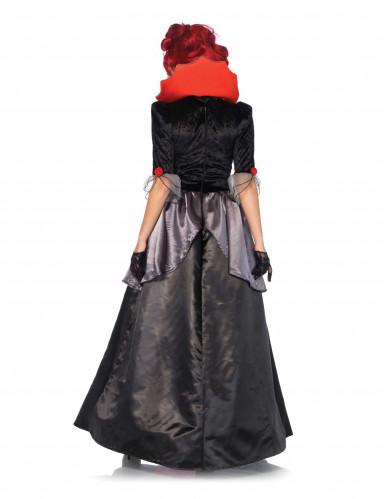Barock-Vampirin Halloween-Damenkostüm schwarz-rot-grau-1