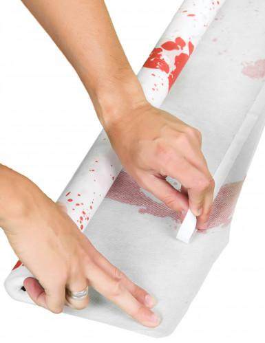 Teppich mit blutigen Fussabdrücken Halloween-Deko weiss-rot-1