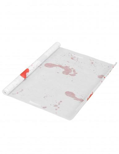 Teppich mit blutigen Fussabdrücken Halloween-Deko weiss-rot-2