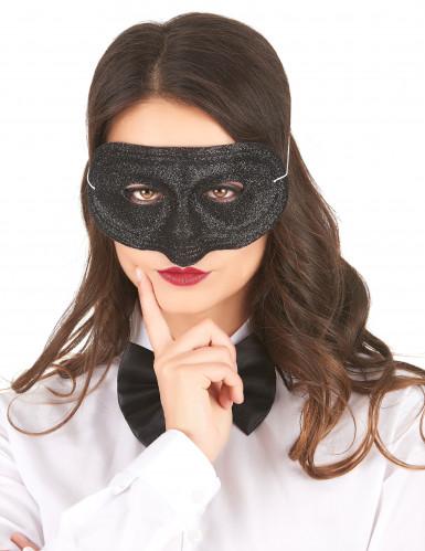 Glitzer-Maske Venezianische Maske für Erwachsene schwarz
