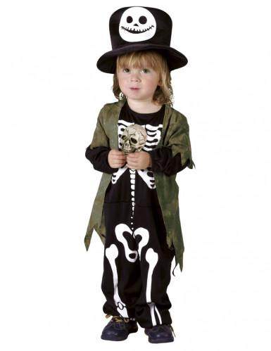 Kleiner Skelett-Gentleman mit Zylinder Halloween-Kinderkostüm schwarz-weiss-braun