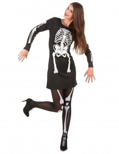 Skelett-Kleid Halloween-Damenkostüm schwarz-weiss