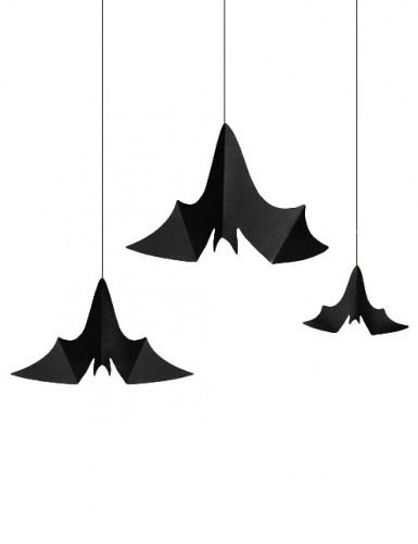 Fledermäuse Halloween-Hängedeko 3 Stück schwarz 47 x 23cm