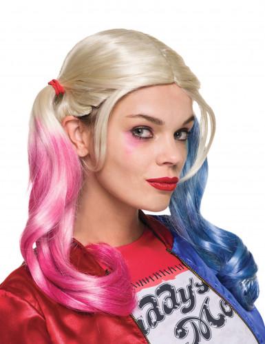Harley Quinn™-Perücke mit Zöpfen Suicide Squad™ Accessoire blond-blau-pink