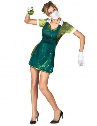Verseuchte Zombie-Krankenschwester Halloween-Damenkostüm grün