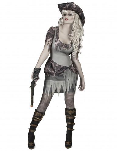 Verführerische Geister-Piratin Halloween-Damenkostüm grau