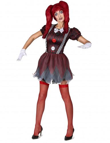 Horrorpuppen-Damenkostüm Ragdoll schwarz-rot-weiss