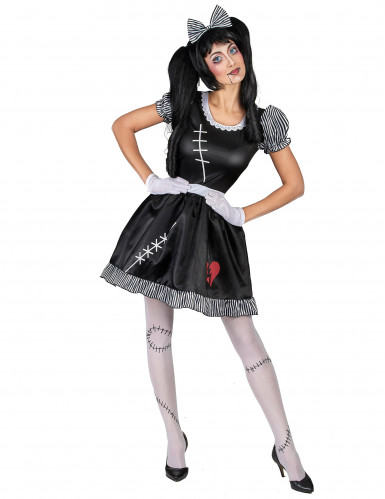 Ragdoll-Kostüm Puppen-Damenkostüm schwarz-weiss