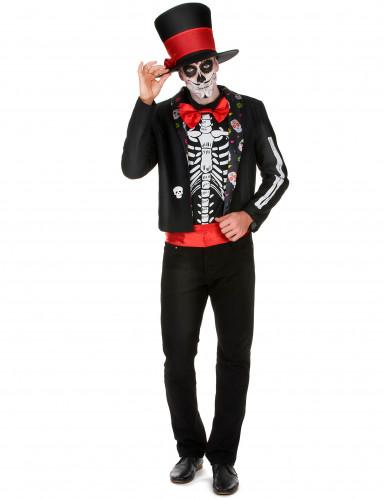 Skelett-Edelmann Halloweenkostüm für Herren schwarz-rot-weiss
