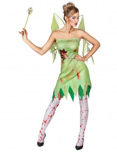 Untote Horror-Fee Halloween-Damenkostüm grün-rot