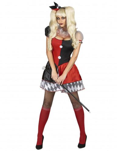 Harlekin Damenkostüm schwarz-rot-weiss