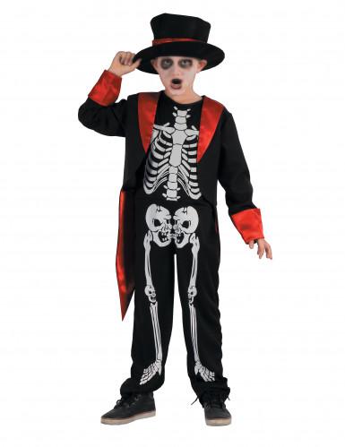 Kleiner Skelett-Gentleman Halloween-Kinderkostüm schwarz-rot-weiss