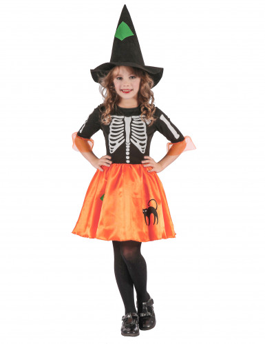 Skeletthexe Halloween-Kinderkostüm schwarz-orange