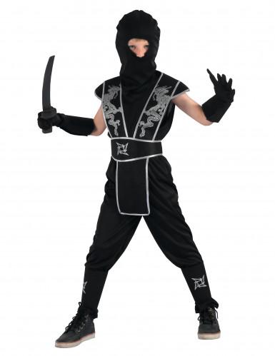 Geheimer Attentäter Ninja-Kinderkostüm schwarz-silberfarben