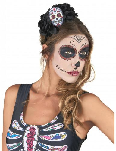 Dia de los Muertos Haarreif mit Sugar Skull schwarz-bunt