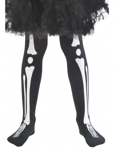 Skelett Kinder-Strumpfhose schwarz-weiß