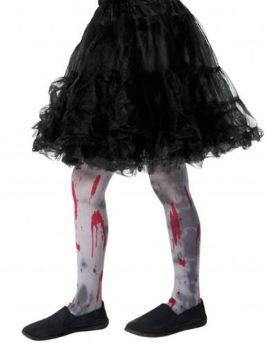 Blutige Zombie Kinder-Strumpfhose grau-rot