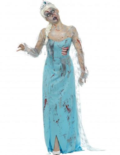 Elegante Zombie-Prinzessin Halloween Kostüm für Damen blau-rot