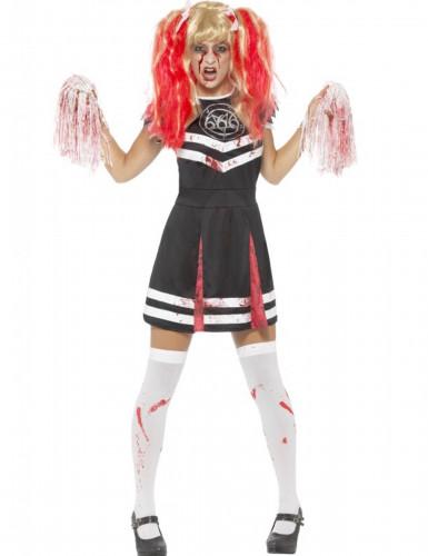 Zombie Cheerleaderin Damen-Kostüm schwarz-weiß-silber