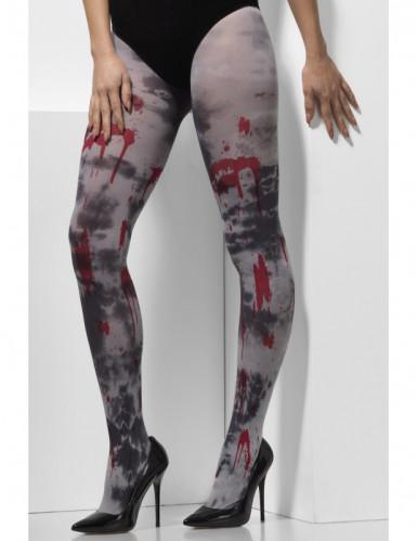 Blutige Zombie-Strumpfhose Halloween-Accessoire grau-rot