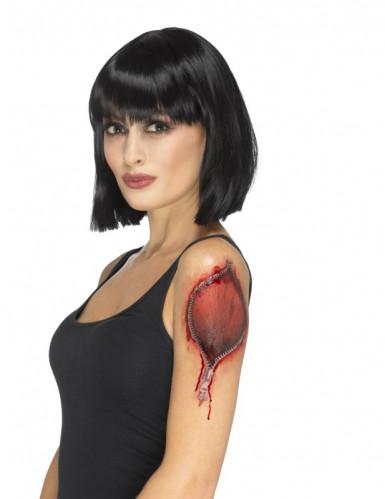 Tattoowunde mit Reißverschluss Halloweenwunde rot