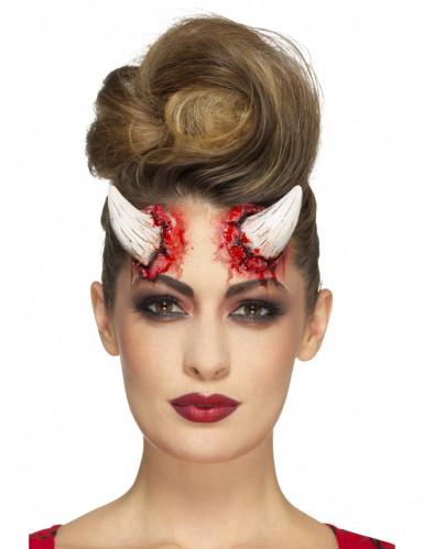 Latex-Teufelshörner für Erwachsene weiß