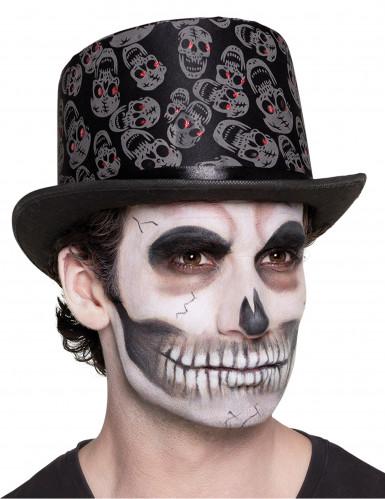 Tag der Toten Totenkopf-Zylinder schwarz-grau-rot
