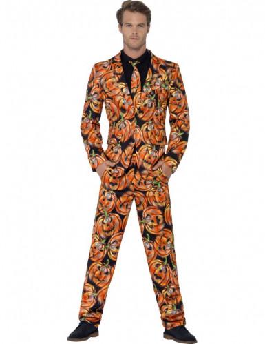 Halloween Herrenanzug Kürbisse schwarz-orange