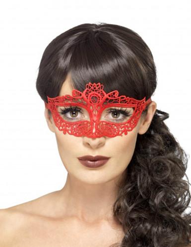 Augenmaske mit Spitze Halloween Kostüm-Accessoire rot