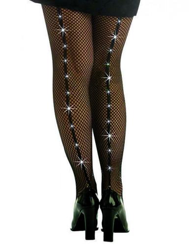 Netzstrumpfhose mit Schmucksteinen schwarz