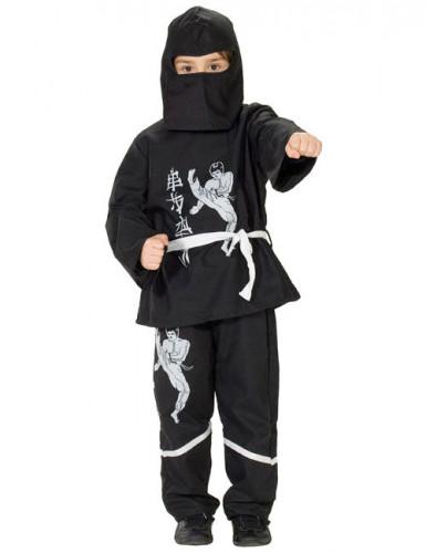 Ninjakostüm für Jungen Karatekämpfer-Aufdruck schwarz-weiss