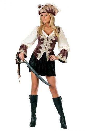 Noble Piratin Damenkostüm Deluxe braun-weiss-schwarz