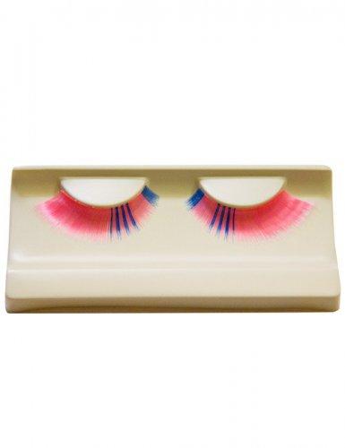 Falsche Wimpern Make-up rosa-blau