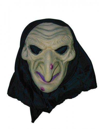 Gruselige Hexen-Maske mit Warzen beige-schwarz
