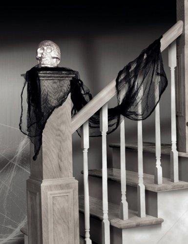 Grusel Drapier-Tuch Schal Halloween-Deko schwarz 240x45cm