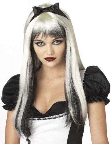 Halloween Langhaar Perücke mit Strähnen weiß-schwarz