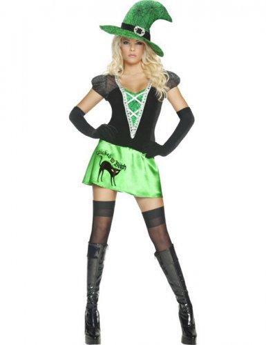 Wicked Bitch Damen Hexenkostüm grün-schwarz