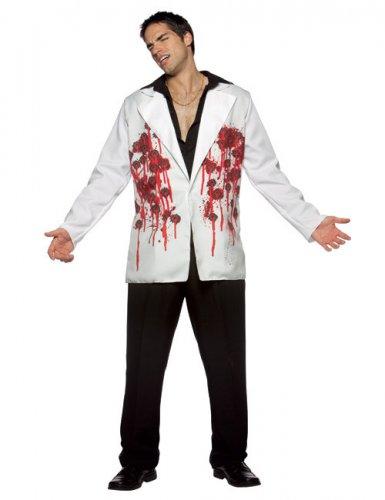 Halloween Blazer mit Einschusslöchern weiss-rot