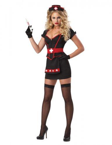 Sexy Halloween Krankenschwester Damenkostüm schwarz-rot