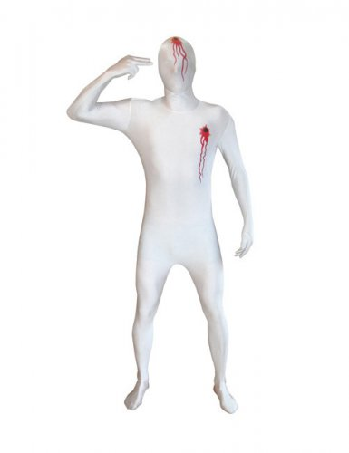 Morphsuit mit Einschusslöchern rot-weiss
