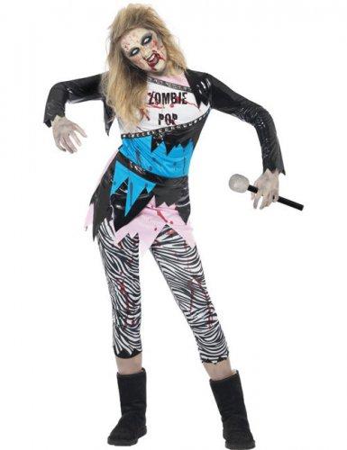 Zombie-Damenkostüm Popstar der 80er für Halloween blau-schwarz-weiss