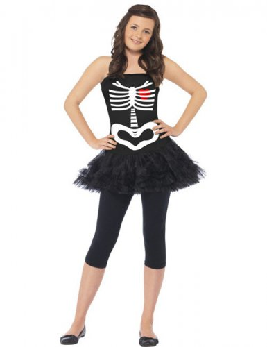 Skelett Ballerina Halloween Damenkostüm schwarz-weiss-rot