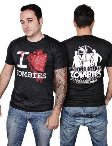 I love Zombies T-Shirt schwarz-weiss-rot