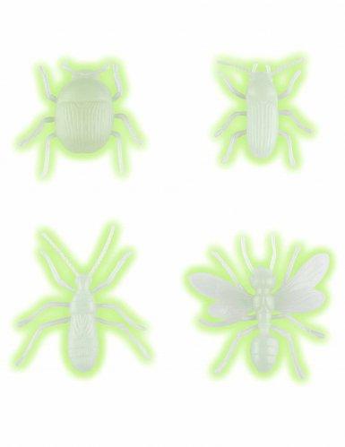 Leuchtende Insekten Halloween-Party-Deko 4 Stück weiss
