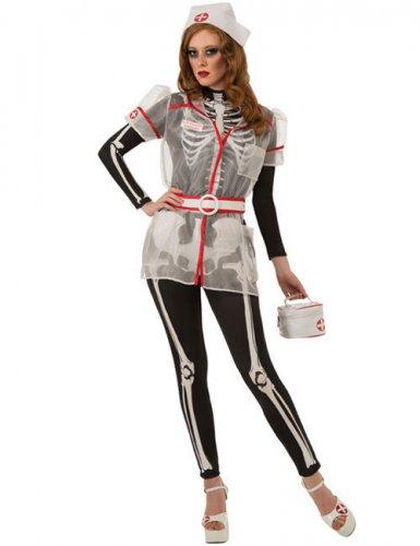 Skelett-Krankenschwester Damenkostüm schwarz-weiss-rot