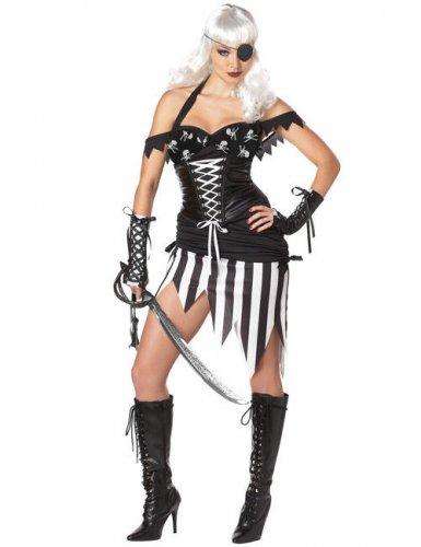 Gothic Piratin Damenkostüm schwarz-weiss