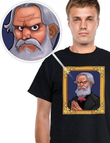 Digital Dudz Halloween T-Shirt Portrait bewegliche Augen schwarz-bunt