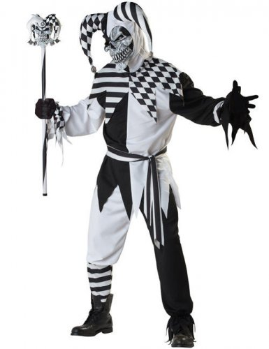 Böser Clown Harlekin Halloween Kostüm schwarz-weiss